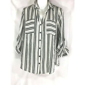 By&By  Black White Striped Roll Tab Button Down
